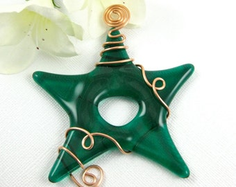 Emerald Green Fused Glass Star Suncatcher