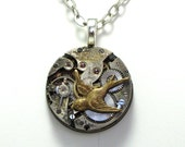 Sparrow Steampunk Necklace Vintage Elgin Watch Movement Designed By Mystic Pieces