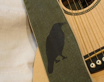 Guitar Strap- Solitary Crow Screen Printed Design-crow-raven-bird-blackbird--music-gifts for musicians-handmade-canvas-unique gifts-cool