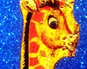 Vintage toy 1962 fisher price Wood Circus Giraffe CHEWED OFF FACE