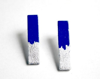 Blue and silver.  Hand painted stud sticks earrings. Stainless steel posts. Minimalist earrings.