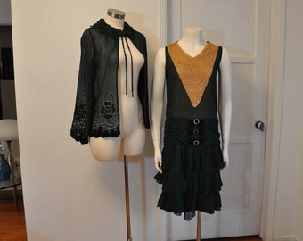 20s dress /  Amazing Vintage Forest Green 1920's Dress and Jacket Set