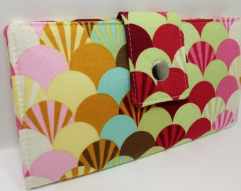 Handmade vegan Long Wallet  BiFold Clutch -Tula Pink Parisville Fans in Sprout