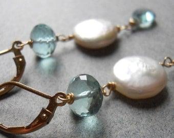 Something Blue Aqua Quartz and Coin Pearl Earrings