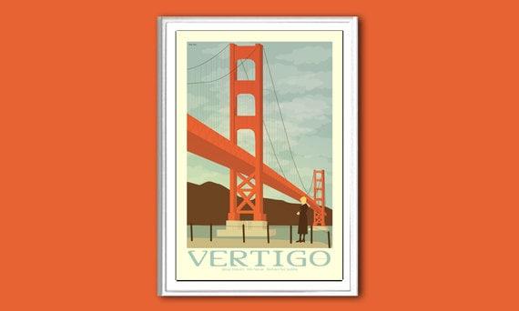 Movie poster Vertigo 12x18 inches retro print