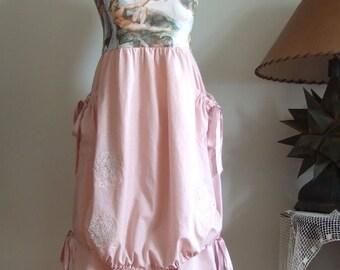 Convertible dress and skirt, Sistine Chapel painting and dusty pink wedding dress, strapless summer dress, bridesmaid dress, Mori girl dress