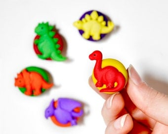Dinosaur Magnets Children's Room Decor in Bright Rainbow Summer Polymer Clay for the Office, Kids, School, or Home Play Room Decoration