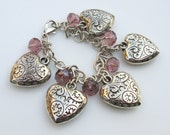 Heart Bracelet, Heart Charm Bracelet, Silver Hearts, Romantic Vintage Style Bracelet with Pink Crystals