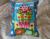 Hand Embroidered Matryoshka Pillow, Russian Nesting Dolls, Folk Art, Babushka, Red, Turquoise, Yellow, Green, Tulips, Hand Made, Art Pillow