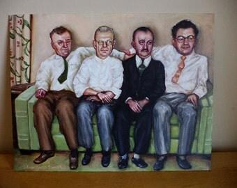 The Four Gentlemen on the Davenport Original Painting, On the Sofa, 1950s 1960s Nostalgia, Mad Men, Retro, Group Portrait, Friends