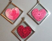 Crocheted heart pendant, your choice of one