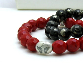 Red Modern Beaded Bracelet with Silver Butterfly, For Her Under 75, Mom Girlfriend Gift, US Free Shipping