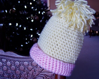 Crochet Hat - for Newborn Infant - Yellow and Pink