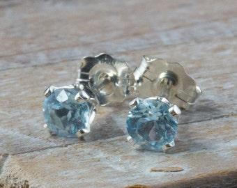 Sky Blue Topaz Stud Earrings 4mm  Blue Topaz Post Earrings Sky Blue Topaz Earrings Bue Gemstone Earrings