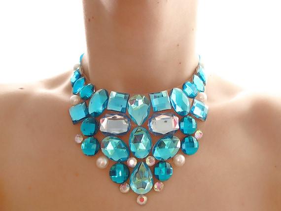 Turquoise and Pearl Rhinestone Bib Necklace, Jeweled Aqua Blue Rhinestone Bib Statement Necklace, Aqua Crystal Bib Necklace