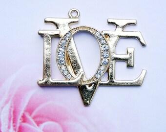 Rhinestone Love Charm Pendant Gold-tone
