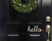 "hello. door decal 3"" x 7"" size"
