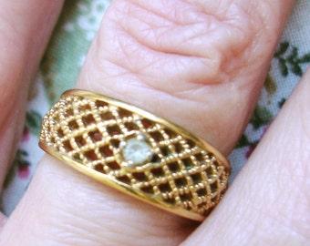 vintage AVON gold basket weave faux diamond ring