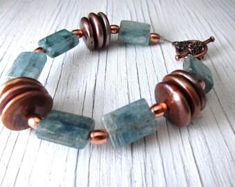 Energy Bracelet, Inner Balance Stone, Kyanite, Freshwater Pearls