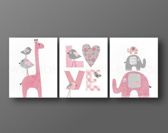 Gray and Pink nursery - giraffe elephant Birds Love children wall art - baby art personalized kids decor - baby girl - Set of three prints