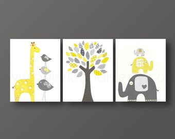 Art for children - nursery print - baby nursery decor - Kids art - yellow - gray - giraffe - Elephant bird Tree - Set of three prints