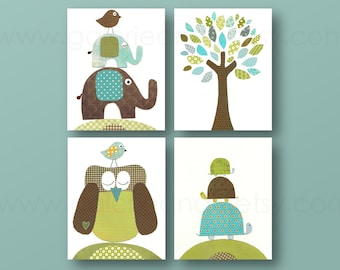 Boy Nursery Decor Blue green brown Nursery wall art baby art children art owl tree birds elephant turtle Set of four prints GalerieAnais