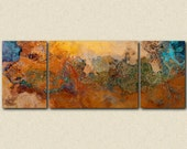 "Extra Large triptych abstract art canvas print, 30x80 to 34x90, in orange, turquoise and copper, from abstract painting ""Canyon Sunset"""