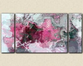 """Triptych abstract art 30x60 to 40x78 stretched canvas print, in bright pink, white and grey, from abstract painting """"Raspberry Flambe"""""""