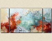 "Large triptych abstract expressionism stretched canvas print, 30x60 to 40x78 in red and blue, from abstract painting ""Simple Pleasures"""
