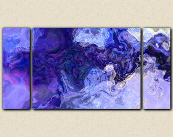 "Large contemporary abstract art stretched canvas print, 30x60 to 40x78 triptych in blue and purple, from abstract painting ""Midnight Blues"""