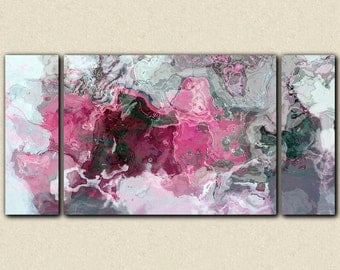 "Triptych abstract art 30x60 to 40x78 stretched canvas print, in bright pink, white and grey, from abstract painting ""Raspberry Flambe"""