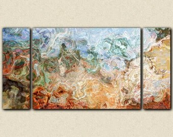 "Triptych abstract expressionism stretched canvas print, 30x60 to 40x78 in brown, green and red-orange, from abstract painting ""Rust Belt"""