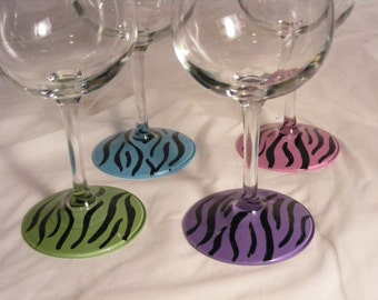 painted wine glasses with colorful zebra design - set of 4  - perfect for your bridesmaids