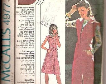 McCalls 4977 Vintage Vest Skirt Pants Sewing Pattern Size 8 10 12