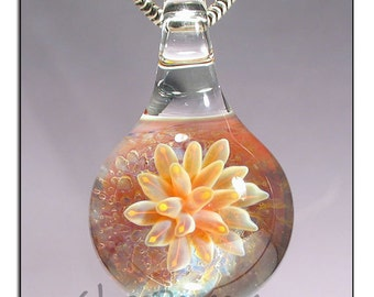 Lampwork Pendant Glass Jewelry Focal sea anemone necklace - Glass Peace glass jewelry (5161)