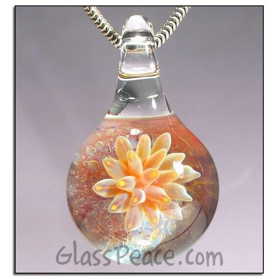 Lampwork Pendant Glass Jewelry Focal sea anemone necklace - Glass Peace glass jewelry (5161)
