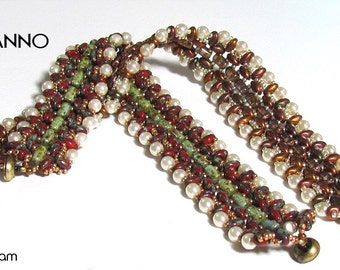 LUGANNO Rula and SuperDuo Beadwork Bracelet tutorial instructions for personal use only