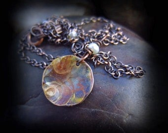 Copper Patina Necklace - Flame Patina Copper Pendant - Hammered Copper Necklace - Wire Wrapped Pearls on Antiqued Copper Chain - ARTSY DROP