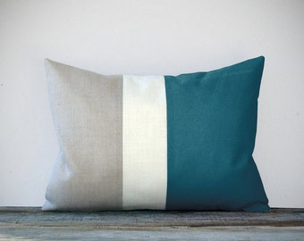 Teal Color Block Decorative Pillow with Cream and Natural Linen Stripes by JillianReneDecor - Summer Home Decor - Nautical Color-block