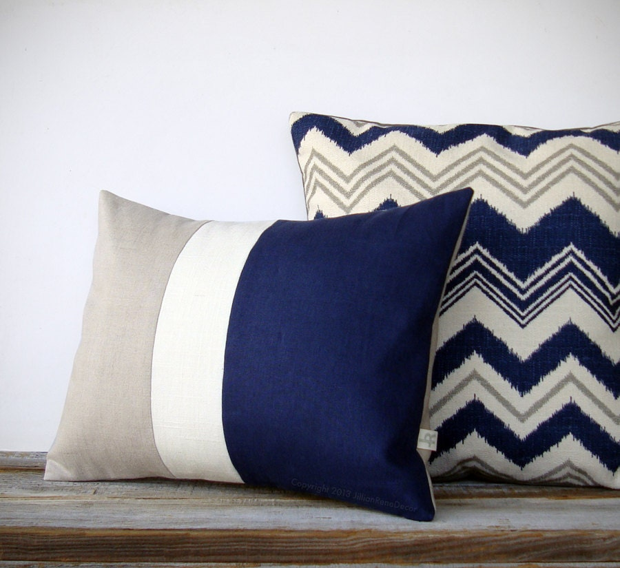 16in Decorative Pillow In Navy Blue Chevron And Stone Gray