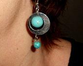 Turquoise earrings, Bohemian earrings, gift for her, dangle earrings, Funky jewelry
