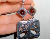 Bohemian earrings, funky earrings,  gift, amber glass earrings, Asymmetrical jewelry, funky jewelry