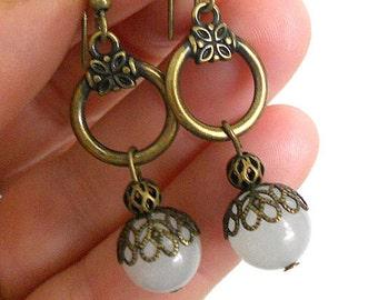 Brsass earrings, dangle earrings, rustic jewelry, white stone earrings, boho earrings, bboho jewelry, bohemian jewelry, gift under 20
