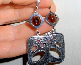 Statement earrings, bohemian long earrings, funky earrings, statement jewelry, amber earrings, abstract jewelry, funky jewelry, boho jewelry
