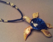 Blown Glass hand made Ocean Sea Turtle Pendant Necklace on Choker