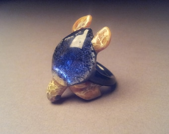 Sea Turtle Ring with Dichroic Blue Colored Turtle Shell
