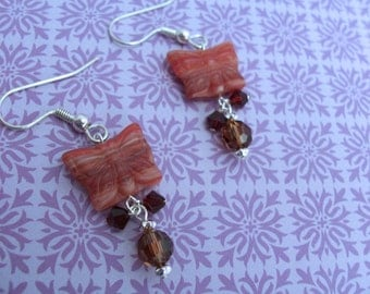 Red and brown butterfly earrings