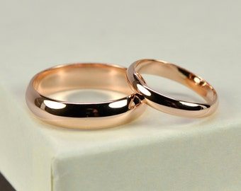 14K Rose Gold Wedding Band Set, Half Round 3mm and 5mm Rings, Classic Style, Sea Babe Jewelry