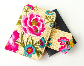Handmade Fabric Passport Wallet - Cover - Organizer for Two (2) or Four (4) Passports in Provincial Garden - MADE TO ORDER