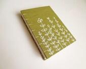Linen fabric covered journal book - wild flowers